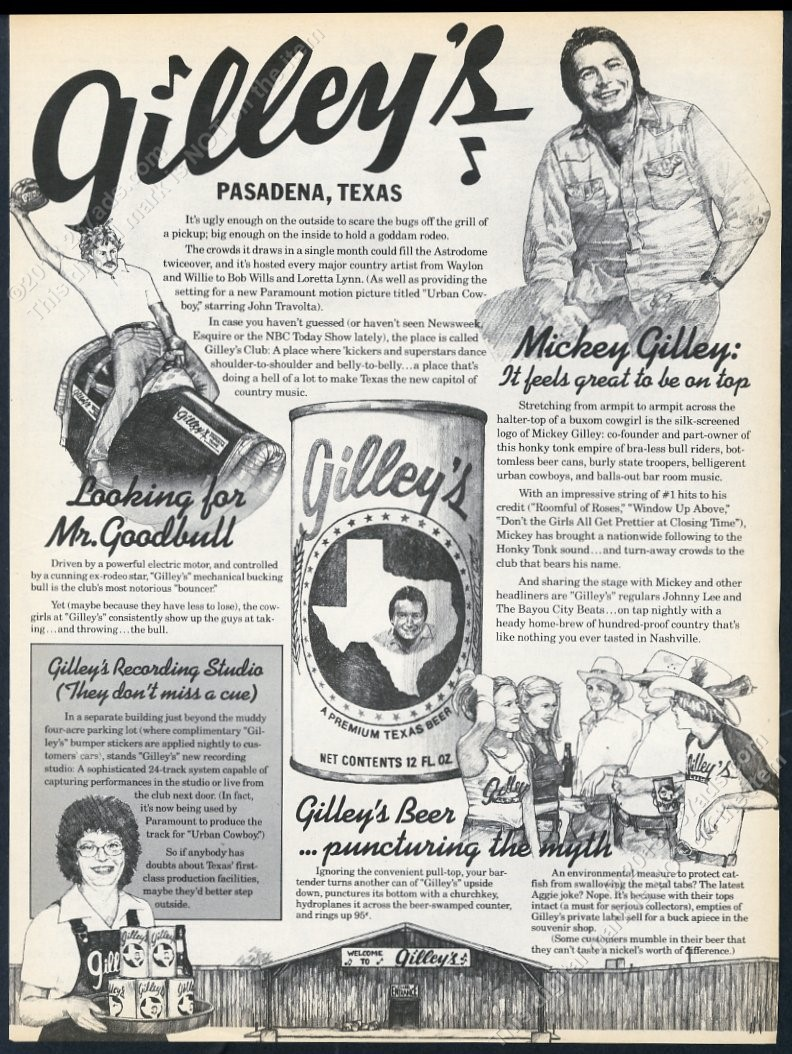 1979 Mickey Gilley pic Gilley's Beer vintage trade print ad